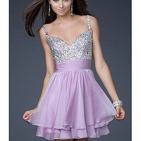 Buy Short Silk-like Chiffon Sweetheart Beaded Homecoming Dress