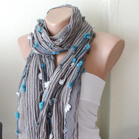 Grey Scarf from coton with small blue white bow by Periay
