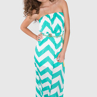 Dani Chevron Maxi Dress - Mint