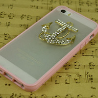 Rhinestone anchor iphone 5s skin case iphone 5c skin case cell phone cases iphone 4s skin cover iphone 5c case anchor iphone 5 case otterbox