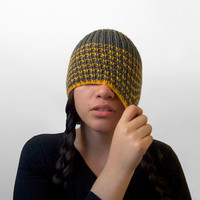 unisex vegan acrylic hat made by hand -- the torse in charcoal grey and golden yellow stripes
