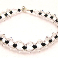 Custom Made Swarovski Crystal Anklet or Bracelet - Cross Weave Pattern in any color