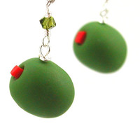 Green olive earrings by inediblejewelry on Etsy