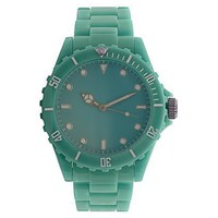Teal Polyurethane Bracelet Round Case Teal Dial Watch