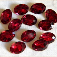 Vintage Czech Glass Oval Ruby Faceted Foiled Cabochon Stone 11mm x 16mm - 12 pcs.
