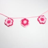 Crochet Flower Garland, Floral Bunting, Girls Baby Shower Decor, Spring Party Decoration, Pink Nursury Wall Hanging, Home Decor