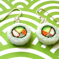 Sushi Earrings Avocado and Crab by kawaiiculture on Etsy