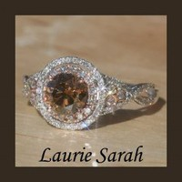 Chocolate Diamond Ring with Rose Gold and White Gold and Twisted Shank - LS1126