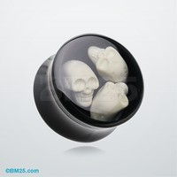 Skulls Frenzy Inlay Double Flared Ear Gauge Plug