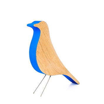 Eames bird remake home decor item design icon simplified deep blue and natural wood