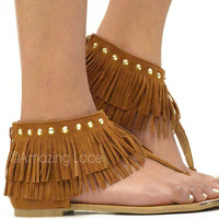 Hot Whiskey Summer Brown Fringe Sandals