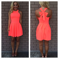 Neon Coral Cross Bow Back Dress