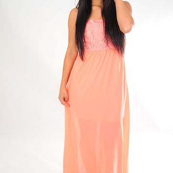 Just Enough Time Dress: Peach