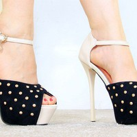 Wholesale Color matching PU waterproof increased thin heel sandals CZ-0789 black - Lovely Fashion