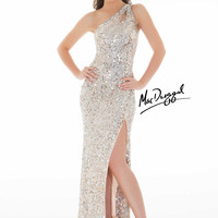 Mac Duggal 3389L - Nude/Silver Sequin One Shoulder Prom Dresses Online