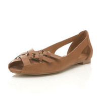 Elfin Tan Cross Over Peep - Shoes - Miss Selfridge US