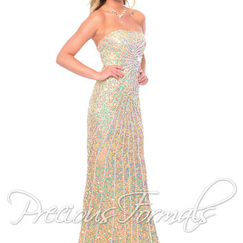 Precious Formals P8799 - Crystal Nude Strapless Beaded Prom Dresses Online