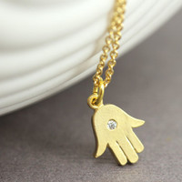 Hamsa Hand Necklace : Delicate Gold Plated Necklace with Hamsa Hand Charm, Yoga, Zen, Relaxing, Evil Spirit, ArtisanTree