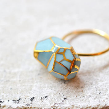 NEW COLLECTION Loire, porcelain ring, glazed and painted with gold , one of a kind (OOAK), made with a vermeil ring