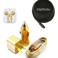 DigiChains? (Golden) 5-in-1 Earphone/cable Hard Case/Bag + earphone + Wall Charger + Car Charger+ 1M Length USB Sync Data / Charging White Cable for iPhone 5 / 5C / 5S iPad Mini iPod Touch 5th Gen