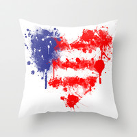 American Heart Throw Pillow by Trinity Bennett