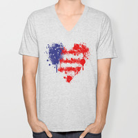 American Heart V-neck T-shirt by Trinity Bennett