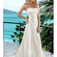 Buy Elegant Chiffon A-line Scoop Chaple Wedding Dress For Your Beach Wedding