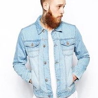 ASOS Denim Jacket With Bleach Wash - Light blue