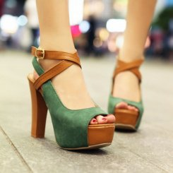 Wholesale Western hot style sexy fashion buckle thick heel pumps Z-FF-F43 green - Lovely Fashion