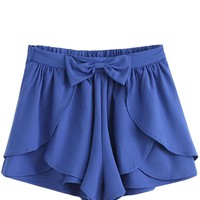 Sheinside Women's Bow Cascading Ruffle Chiffon Skirt Shorts