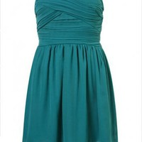 Blue sweetheart knee length evening dress