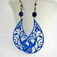 Royal Blue Paisley Filigree Earring Spring Summer