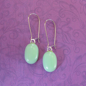 Mint Green Earrings,  Kidney Wire Earrings, Pastel Green Fused Glass Jewelry - Silvia - 304 -4
