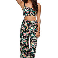 LA Hearts Cutout Jumpsuit - Womens Dress - Floral -