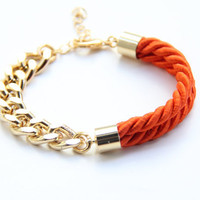 Gold chunky chain and Orange Silk Bracelet  24k by TheUrbanLady