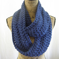 Ready To Ship Royal Blue Handmade Chunky Infinity Scarf Cowl Neck Warmer