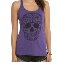 Purple Sugar Skull Girls Tank Top