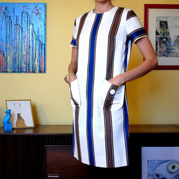 Vintage 1960s Dress Striped Mod Womens Nancy Greer white brown blue short sleeved Retro Swinging