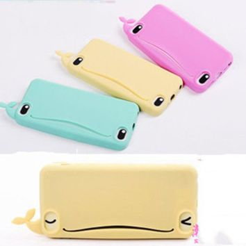 New Fashion Big Mouth Whale Rubber Card Holder Case for iPhone 4 4S