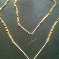 V Necklace – Hammered – Hand Forged Gold Jeweled V Double Strand Necklace