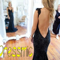 Long Sexy Prom Dress, V Neck Floor-length Long Backless Prom Dresses Cheap Wedding Party Dresses, Winter Evening Gown With Halter
