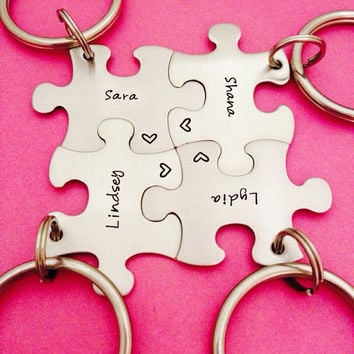 Personalized Set of 4 custom names -  Puzzle Piece Key Chains -Bridesmaids - Best Friends - Hand Stamped key chains