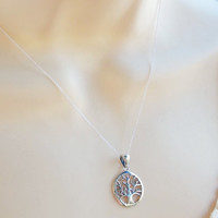 sterling silver tree of life necklace   family tree necklace  silver tree of life necklace    925 tree of life    silver family tree