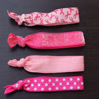 Breast cancer awareness hair tie