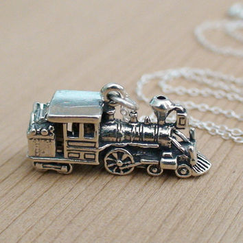 TRAIN  Sterling Silver Charm with a Sterling Silver by AgHalo