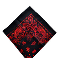 Trainmen Bandana Black with Red Print