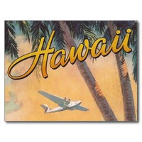 Vintage Hawaii Air Travel - Palm Trees Postcard