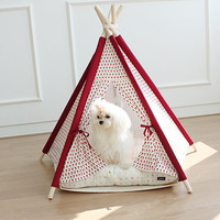 Red flower dog house, teepee tent, pet indian tent