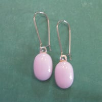 Pink Earrings, Kidney Wire Earrings, Pastel Pink Drop, Modern Trendy Fused Glass Jewelry - Pansy - 329 -4