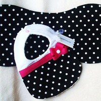 Divababies-White & Black Polka Dot Burp Cloth & Diva Bib w/ Pink Bow | Divababies - Children's on ArtFire